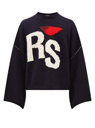 Raf Simons Rs Intarsia Oversized Cropped Wool Sweater Navy