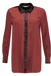 W118 By Walter Baker Marcy Faux Leather Trimmed Silk Crepe De Chine Shirt Claret