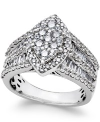 Macy's Diamond Large Cluster Engagement Ring 2 Ct. Tw. In 14K White Gold