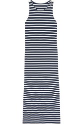 Majestic Striped Cotton Jersey Maxi Dress Navy