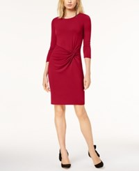 Inc International Concepts Petite Twist Front Dress Created For Macy's Real Red