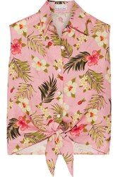Miguelina Nelline Printed Linen Top Baby Pink