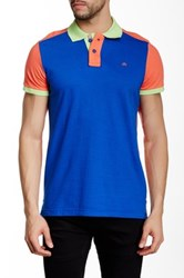 Micros Tailor Fit Colorblock Short Sleeve Polo Blue