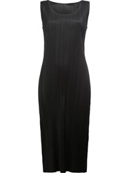 Issey Miyake Pleats Please By Pleated Fitted Dress Black