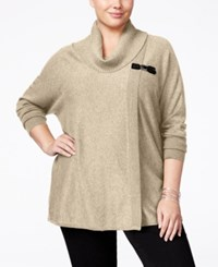 Jm Collection Plus Size Cowl Neck Poncho Only At Macy's Acorn Heather