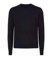 Maison Martin Margiela Crew Neck Denim Elbow Patch Jumper Male Navy