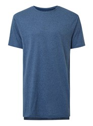 Topman Dark Blue Salt And Pepper Step Hem Longline T Shirt