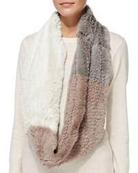 Jocelyn Colorblock Rabbit Fur Infinity Scarf Cement Ivory