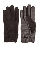 Scotch And Soda Glove In Suede And Leather Quality Black