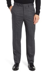 Berle Flat Front Stretch Houndstooth Wool Trousers Grey