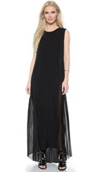Blk Dnm Pleated Silk Maxi Dress 77 Black