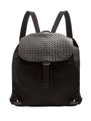 Bottega Veneta Canvas And Intrecciato Leather Backpack Black