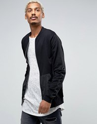 Asos Jersey Bomber Jacket With Woven Pocket And Taping Black