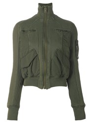 Haider Ackermann Multiple Pockets Cropped Jacket Green