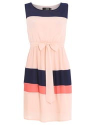 Pussycat Colour Block Plisse Dress Peach