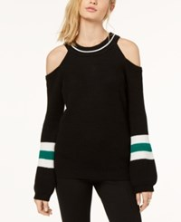 Inc International Concepts Cold Shoulder Halter Sweater Created For Macy's Black