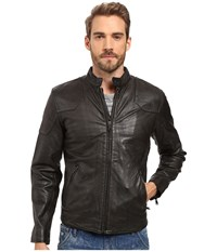 Lucky Brand Thruxton Leather Jacket Washed Black Men's Coat
