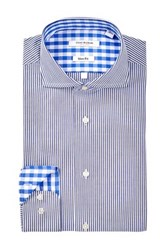 Isaac Mizrahi Navy Fine Stripe Spread Collar Long Sleeve Modern Fit Dress Shirt Blue