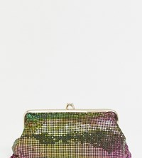 Reclaimed Vintage Inspired Iridescent Metallic Clutch Bag With Clasp Green