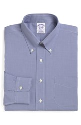 Brooks Brothers Big And Tall Classic Fit Houndstooth Dress Shirt Blue