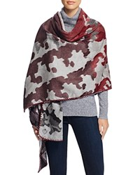 Fraas Whip Stitch Camouflage Wrap Scarf Light Gray Pinot Pink