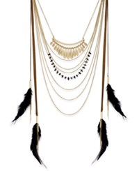 Inc International Concepts Gold Tone Black Feather Statement Necklace Only At Macy's