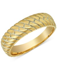 Esquire Men's Jewelry Herringbone Band In 14K Gold Only At Macy's Yellow Gold