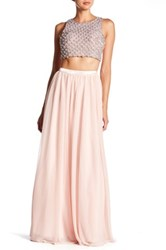 Sequin Hearts Rhinestone Crop Tank And Skirt Set Pink