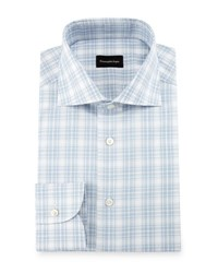 Ermenegildo Zegna Textured Plaid Dress Shirt White Blue