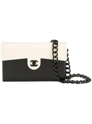 Chanel Vintage Bi Colour Cc Logo Chain Shoulder Bag Black