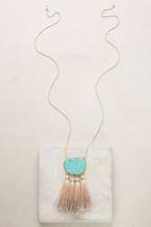 Anthropologie Ombre Tassel Pendant Necklace Turquoise