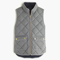 J.Crew Excursion Quilted Vest In Flannel Hthr Graphite
