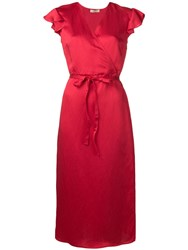 Twin Set Mid Length Wrap Dress Red