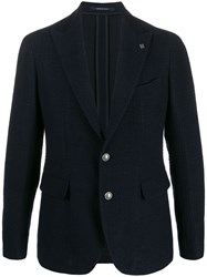 Tagliatore Slim Fit Knitted Blazer Blue