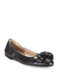 Tory Burch Blossom Round Toe Leather Ballet Flats Port Black