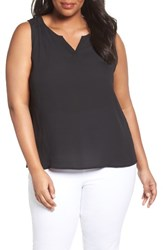 Sejour Plus Size Women's Split Neck Shell