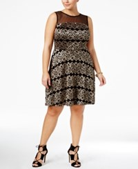 Love Squared Trendy Plus Size Lace Fit And Flare Dress Gold Black