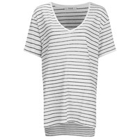 Gestuz Women's Marie Striped V Neck Linen T Shirt Off White Black
