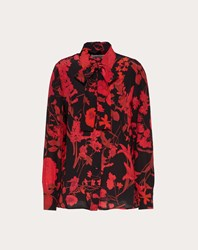 Valentino Overdyed Crepe De Chine Shirt With Double Flower Print Black Red Black Red