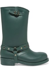 Red Valentino Embellished Rubber Rain Boots Green
