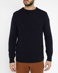 Schott Nyc Blue Asymmetric Cable Pullover