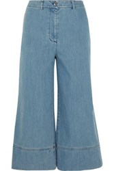 Michael Kors Cropped High Rise Wide Leg Jeans Mid Denim