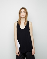 Proenza Schouler Colorblocked Viscose Knit Tank Black White