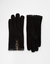 Asos Suede Gloves With Zip Detail Black