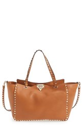 Valentino 'Rockstud' Grained Calfskin Leather Tote Brown Cognac