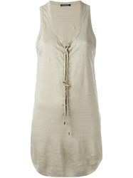 Balmain Lace Up Toggle Tank Top Nude And Neutrals