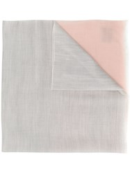 N.Peal Contrast End Pashmina Scarf Grey
