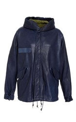 Mr And Mrs Italy Leather Mini Parka Blue