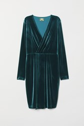 Handm H M Velour Dress Turquoise