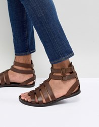 Asos Design Gladiator Sandals In Leather Brown